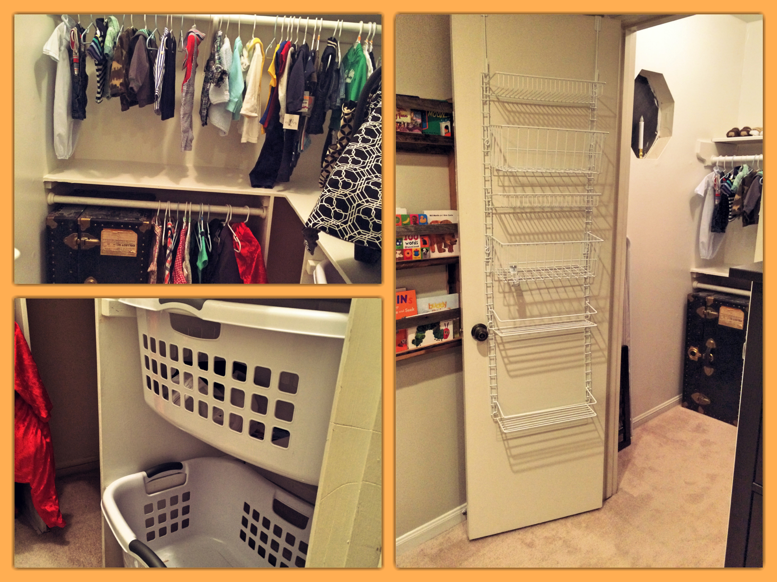 The closet is still a work in progress, but I am happy with what we've set up so far, as I think it will work out nicely and grow with baby. I love the little niche Jon built for laundry baskets and that there's plenty of room for storage.
