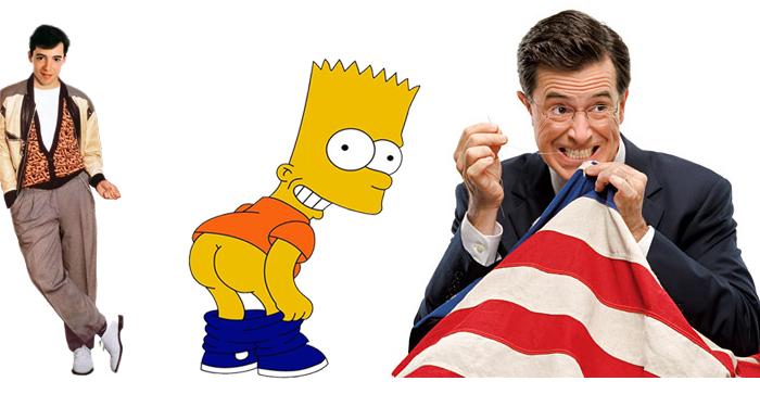 Ferris Bueller, Bart Simpson and Stephen Colbert.