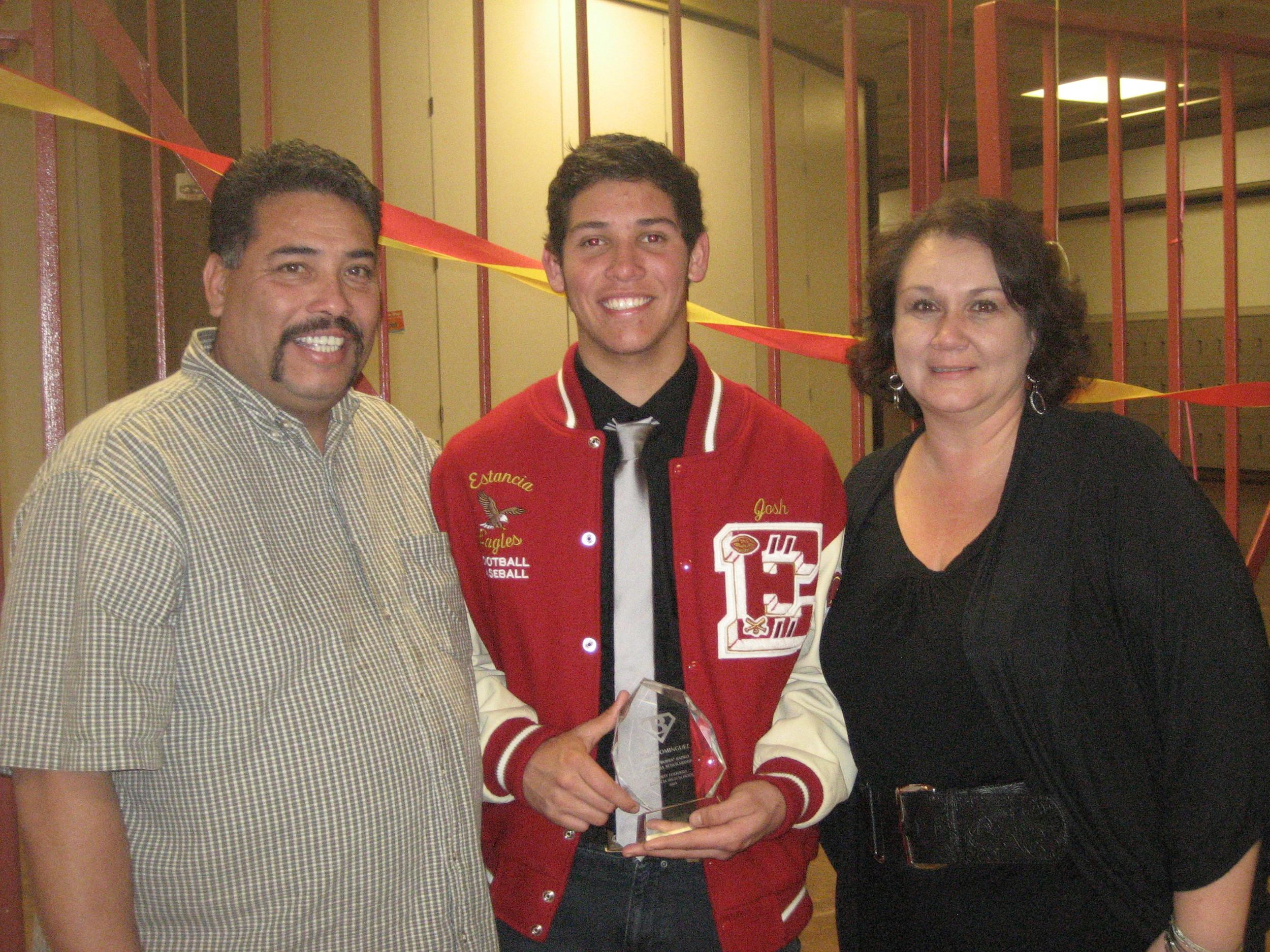 "Josh Dominguez [2009]   Brian ""Bubba"" Kapko Football Scholarship  EHS Varsity Football Team Awards"