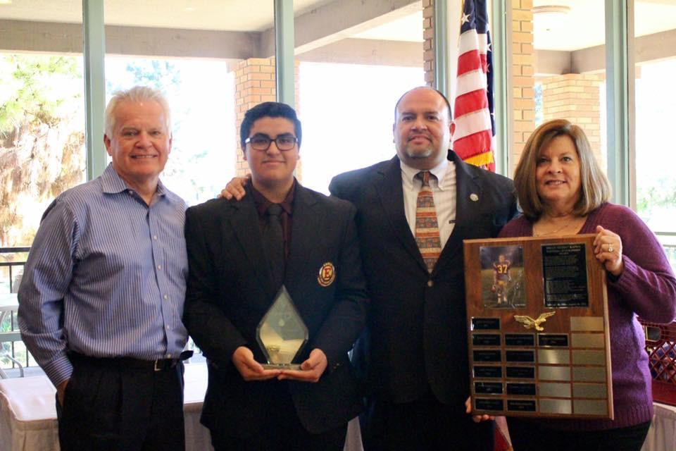 """Pablo Guerrero [2016]   Brian """"Bubba"""" Kapko Football Scholarship  EHS Varsity Football Team Awards"""