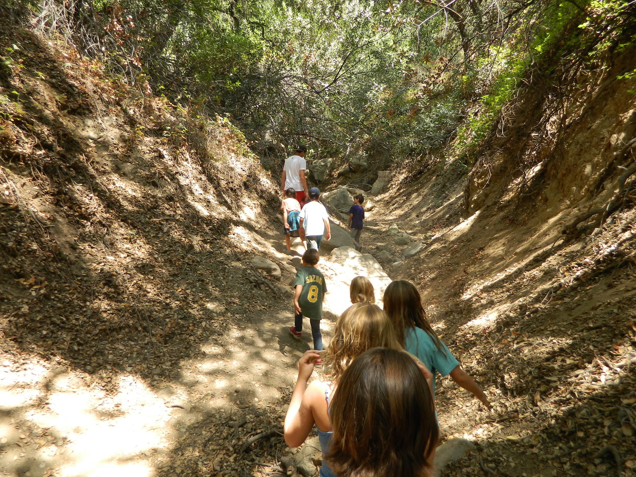 A dry creek bed serves as one hike's starting point
