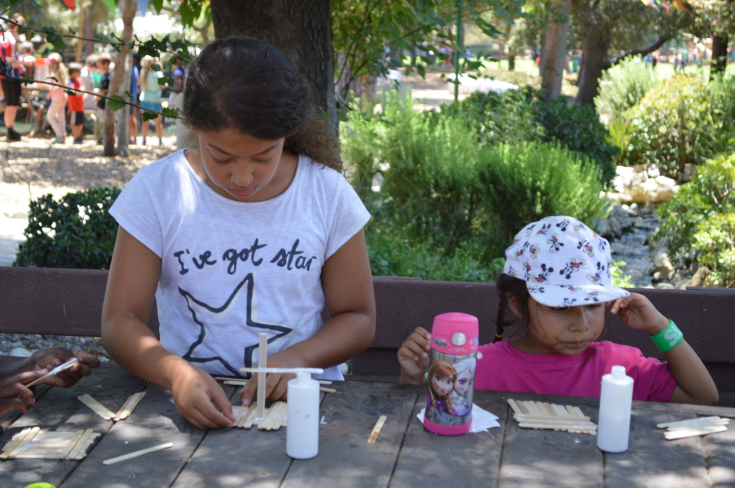 The mix of activities includes games and crafts,