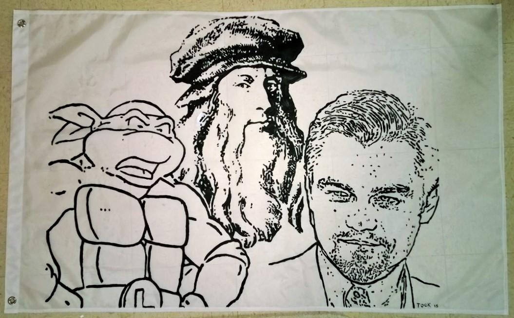 Tock Custom - Handmade 'Three Leonardos' Flag