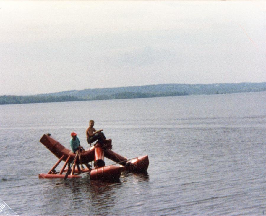 Lake Wesserunsett and work, 1987