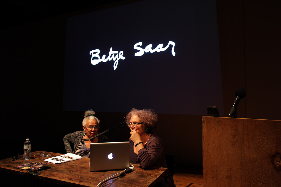 Betye Saar and Alison Saar (F '93) giving a lecture in 2014.