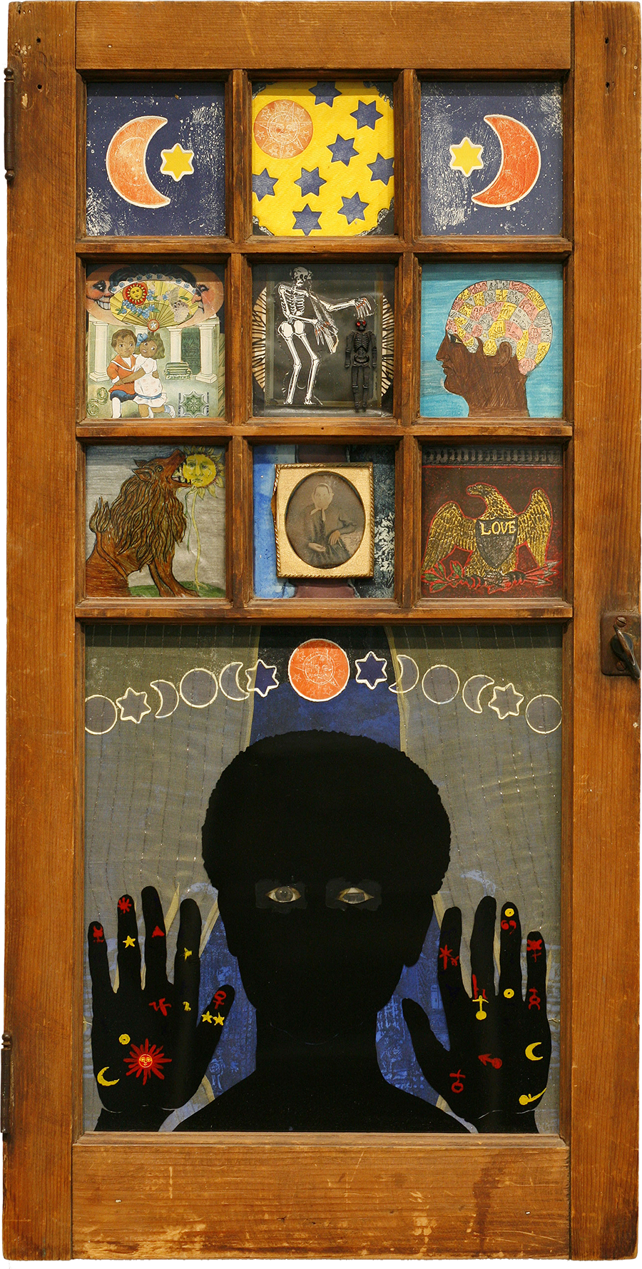 "Betye Saar (b.1926)  Black Girl's Window , 1969 assemblage in window 35 3/4"" x 18"" x 1 1/2"", signed and dated Collection of the Museum of Modern Art, New York, NY; Courtesy of Michael Rosenfeld Gallery LLC, New York, NY"