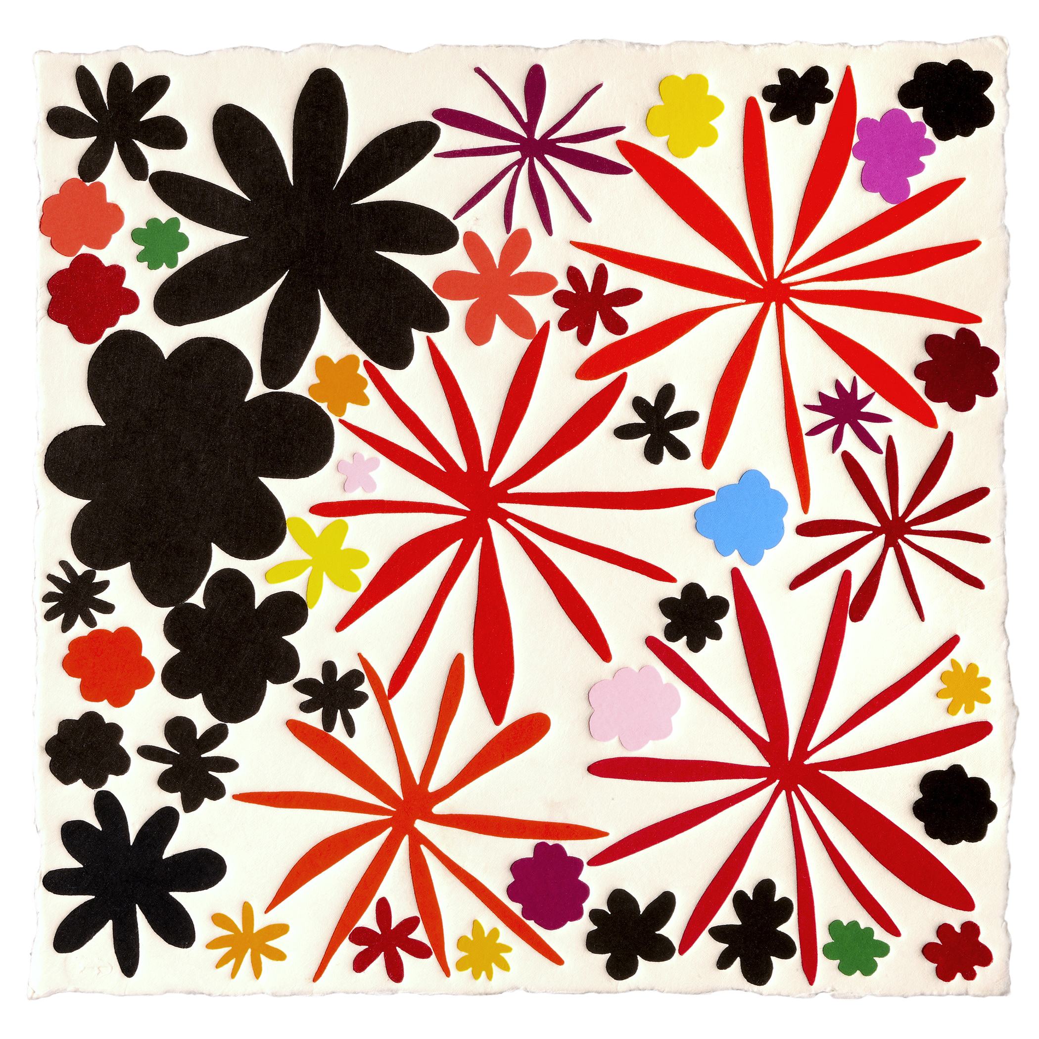 Polly Apfelbaum, Night Flowering (2009),Multicolor woodblock print on Kozo (Japanese triple-thick handmade paper),16 x 16 inches