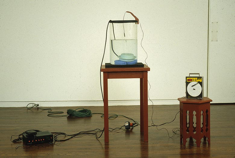 Martin Kersels,  Attempt to Raise the Temperature of a Container of Water by Yelling At It  (1996), Glass, wood, CD player, underwater speaker, recording thermometer, cables, audio recording, Dimensions variable
