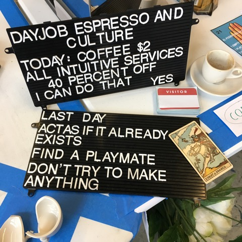 Deborah Fisher and Paul Ramirez Jonas, Dayjob Espresso and Culture, 2017, Grand Central Arts Center, Fullerton CA