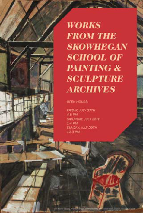 Poster designed by Nataliya Slinko announcing one of two exhibitions of works from the Skowhegan Archives & featuring the work of John Udvardy.