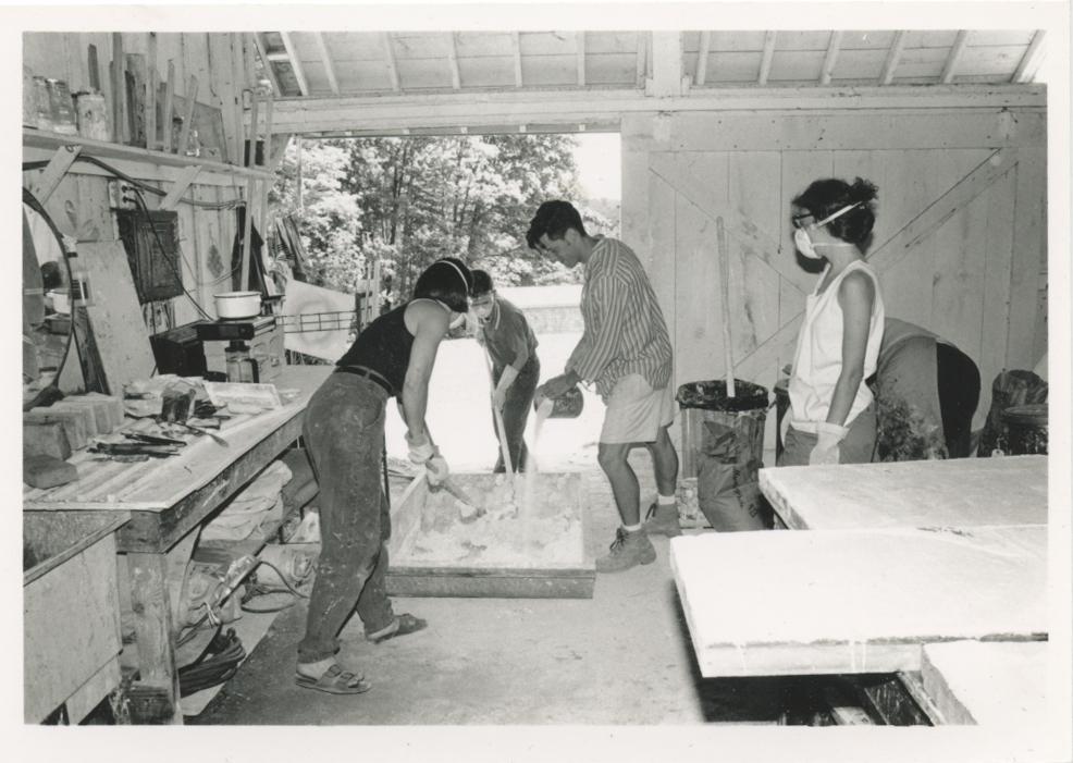 Participants in the fresco shop, 1984.