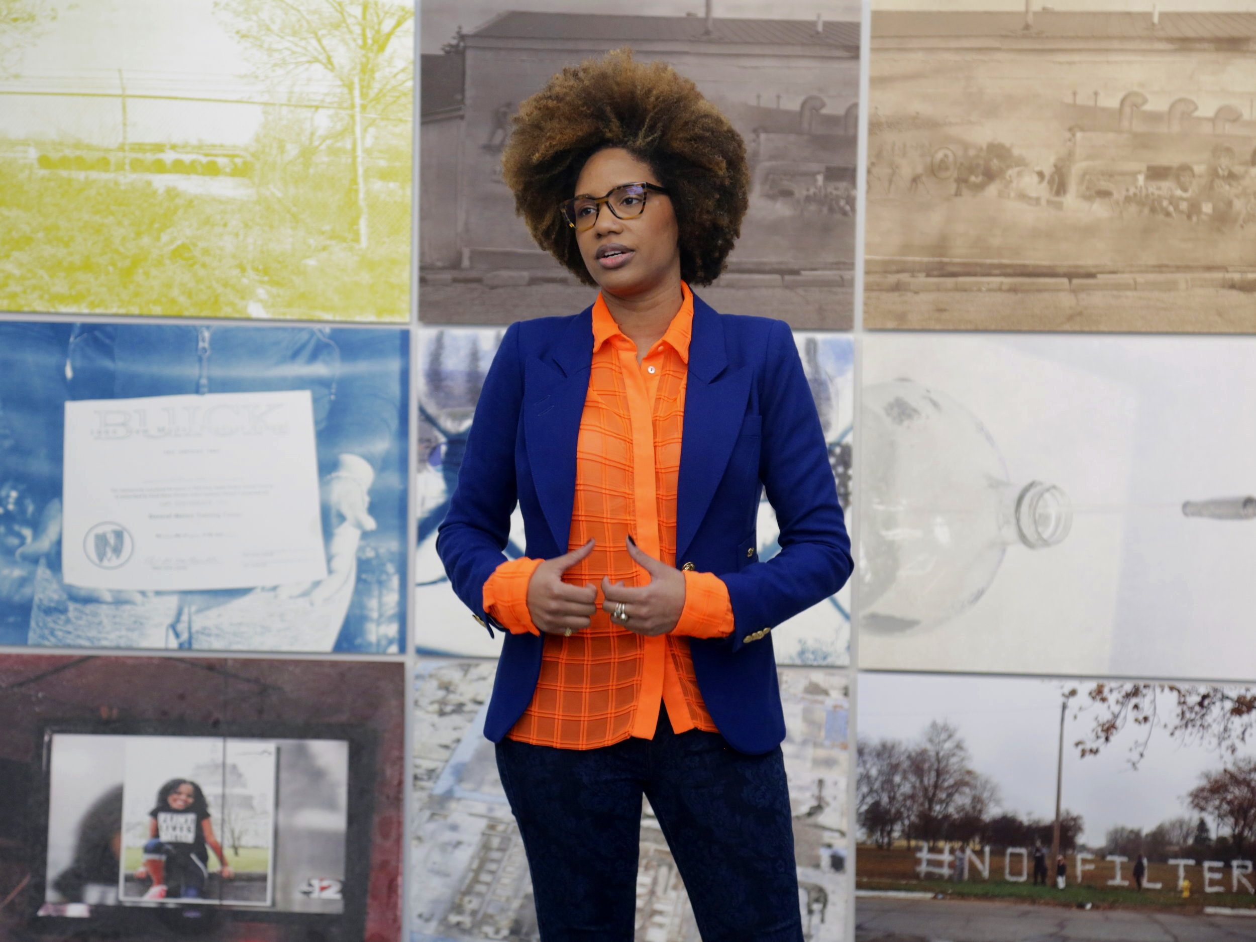 LaToya Ruby Frazier (A '07 , F '15) presenting her work at Gavin Brown's Enterprise, 2018.