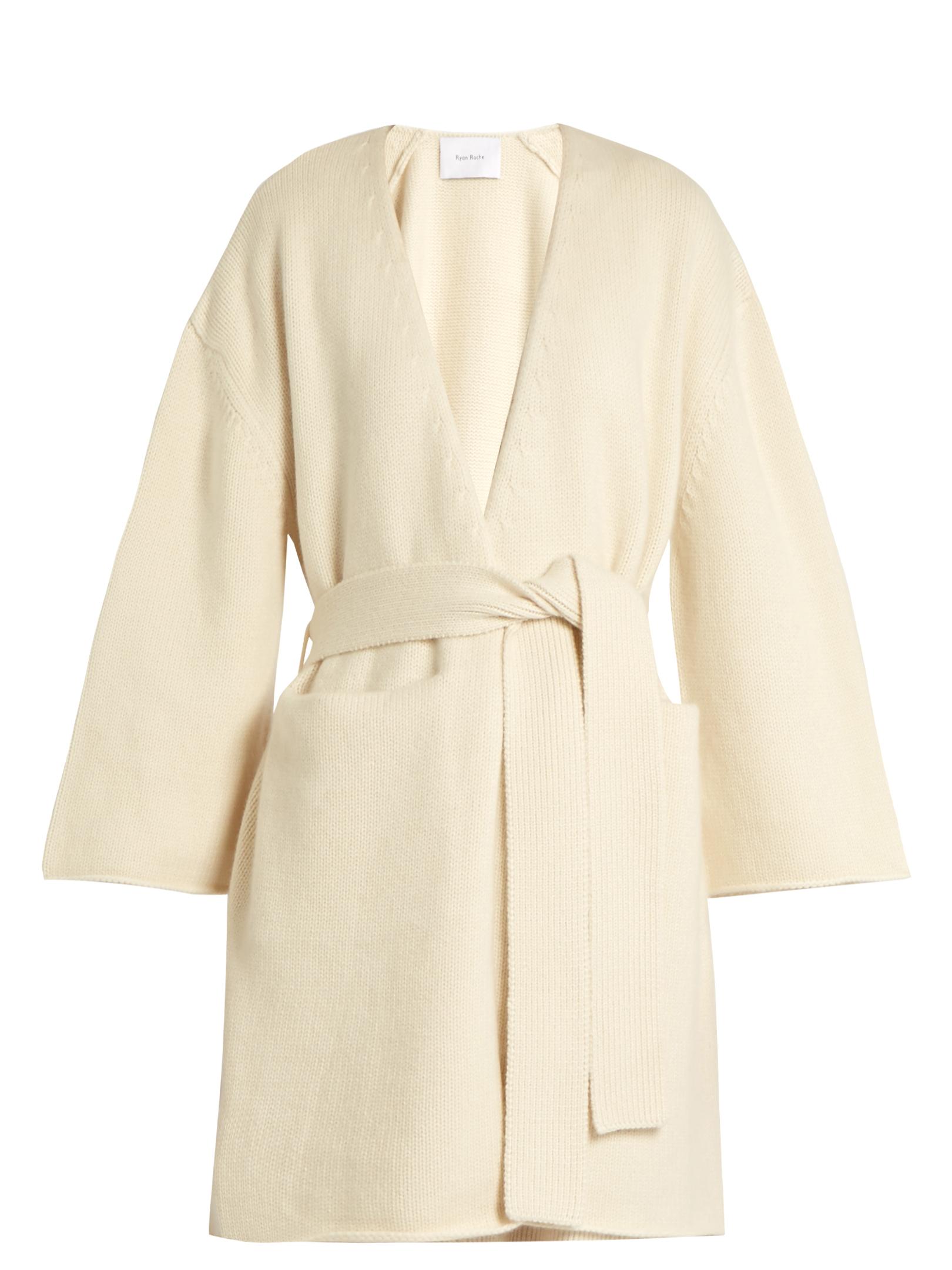 Tie-waist cashmere cardigan