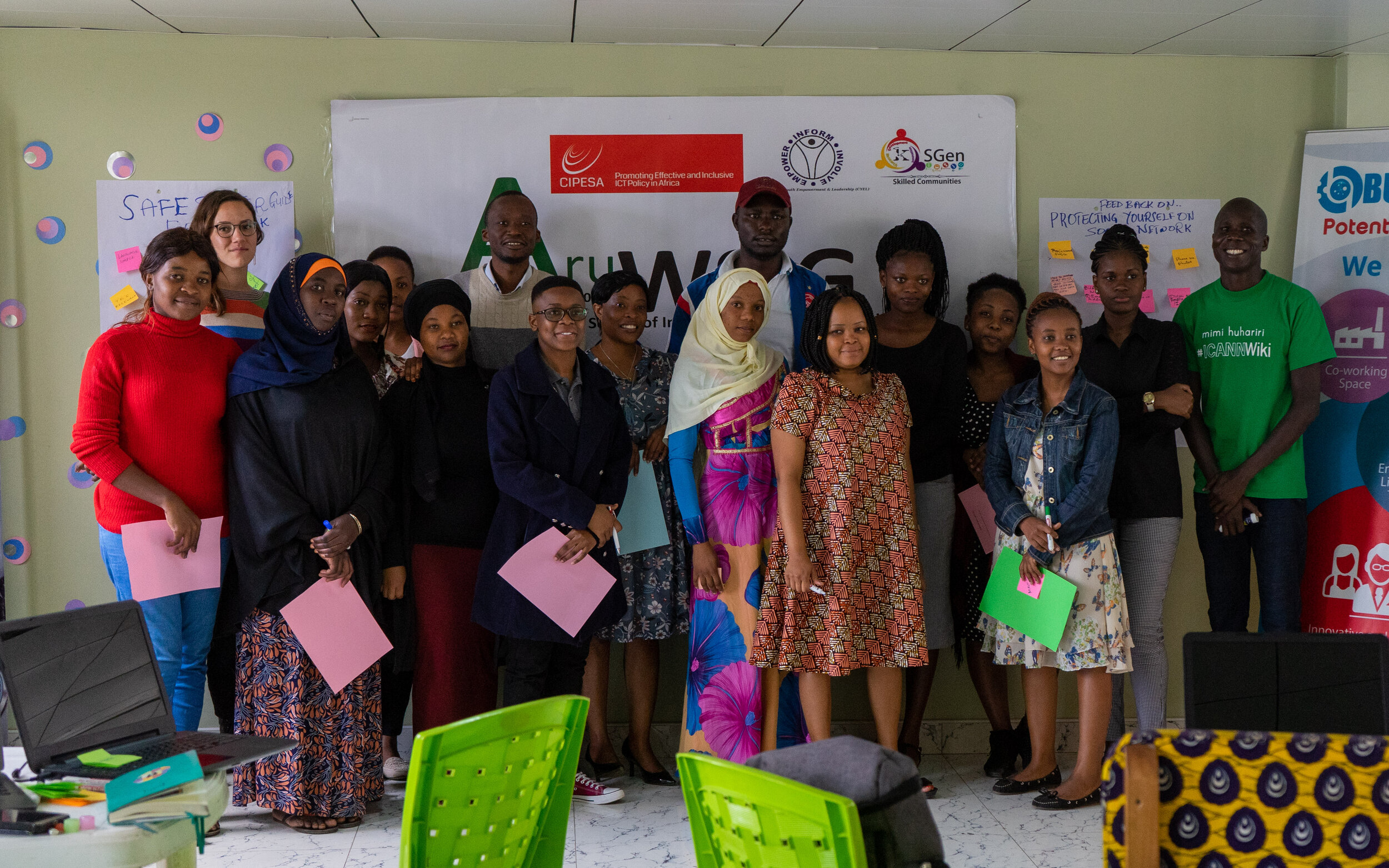 Localization Sprint participants at the 2nd Edition of the Arusha Women's School of Internet Governance