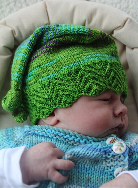 Elfbaby hat  uses just half a skein of sock yarn, offers a choice of three borders and is sized from baby to adult – you won't be able to make just one!   Buy now.