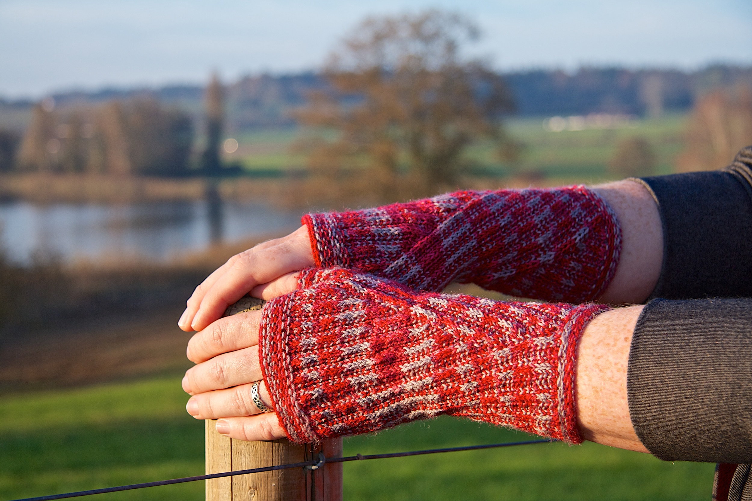 Wraparound mitts    make the most of those beautiful variegated sock yarns with slip-stitch patterning and a clever, fun construction.   Buy now .  (Sized from child to adult)