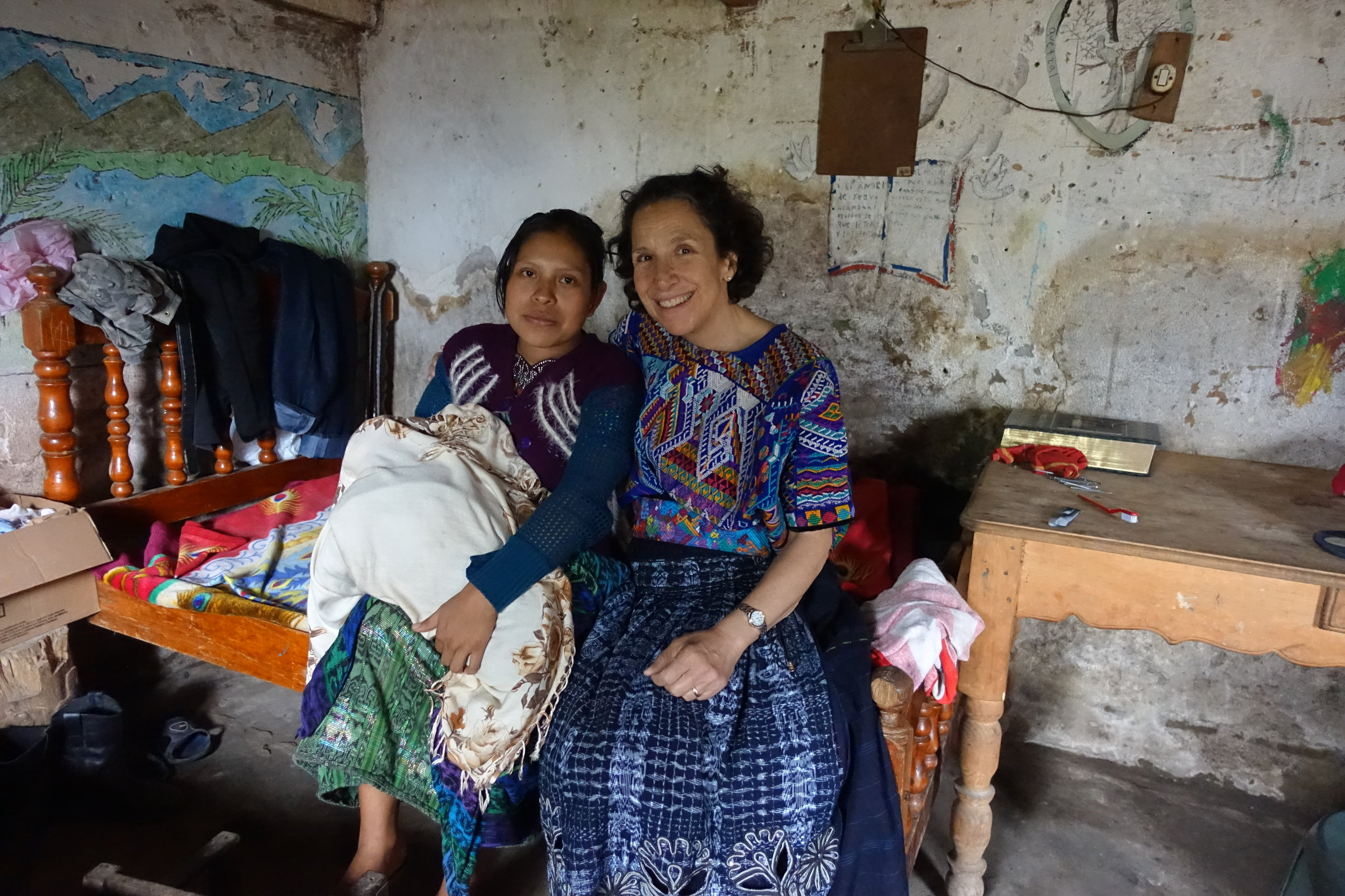 Mary Ellen Galante of Maya Midwifery International with Ana and her daughter in Toj Rincón.