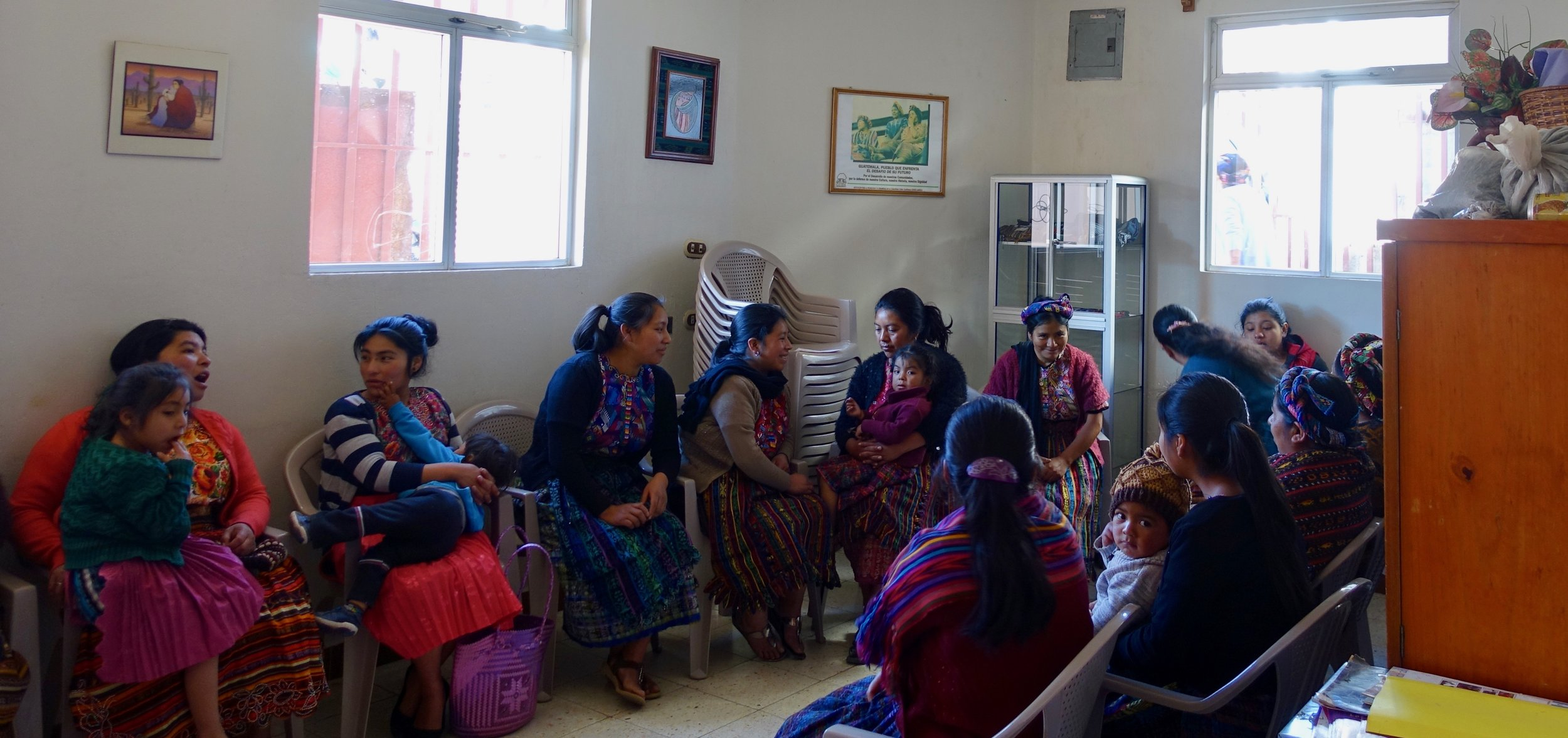 Patients wait to be seen by the midwives at ACAM