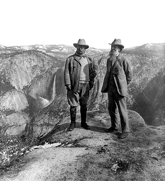 Theodore Roosevelt and John Muir at Glacier Point in Yosemite National Park in 1906
