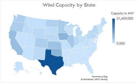 On the rise: The top 5 wind producing states in the U.S. are in order; Texas (21,450 MW), Iowa (6,974 MW), Oklahoma (6,645 MW), California (5,561 MW), and Kansas(5,110). Combined, the states account for 89,945 MW of wind power. Image: Climable.org
