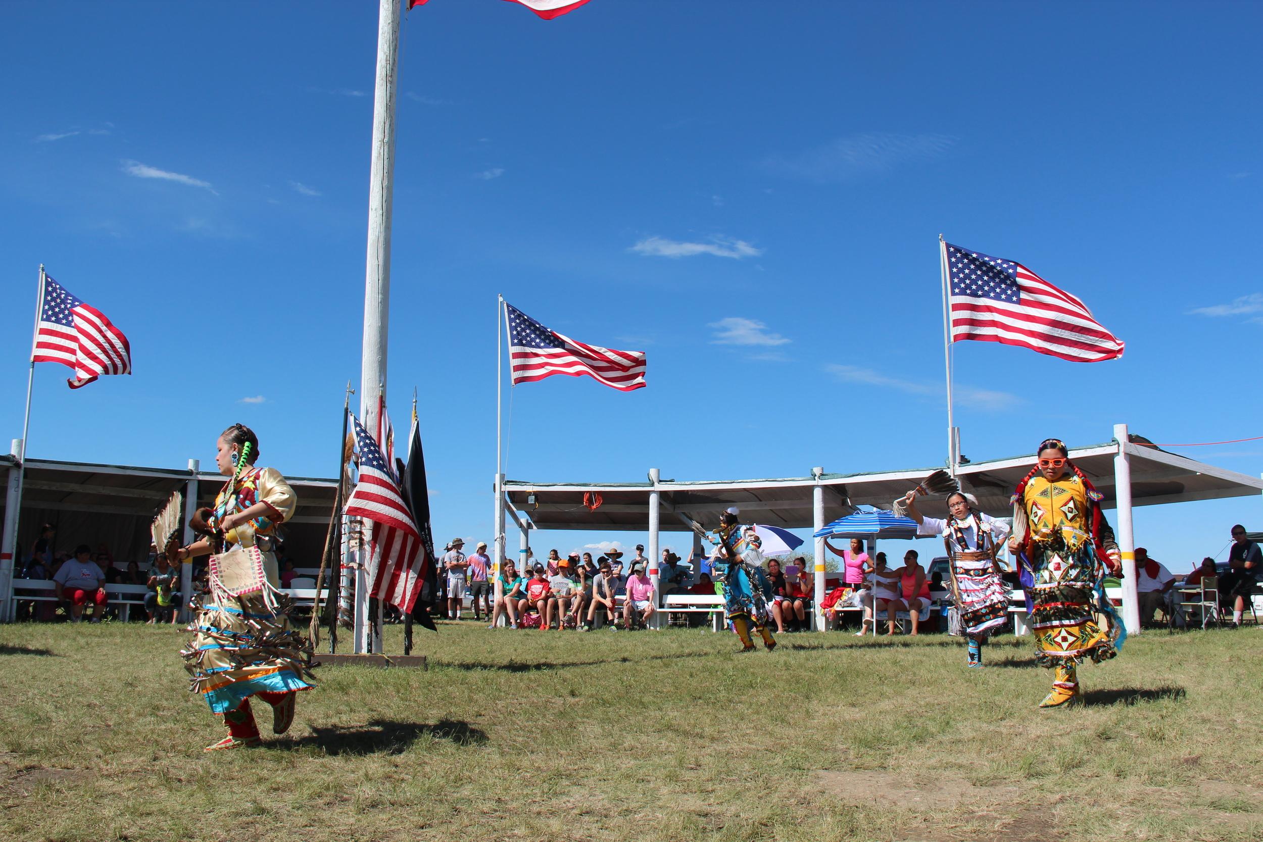 Ceremonial dancing at the town powwow