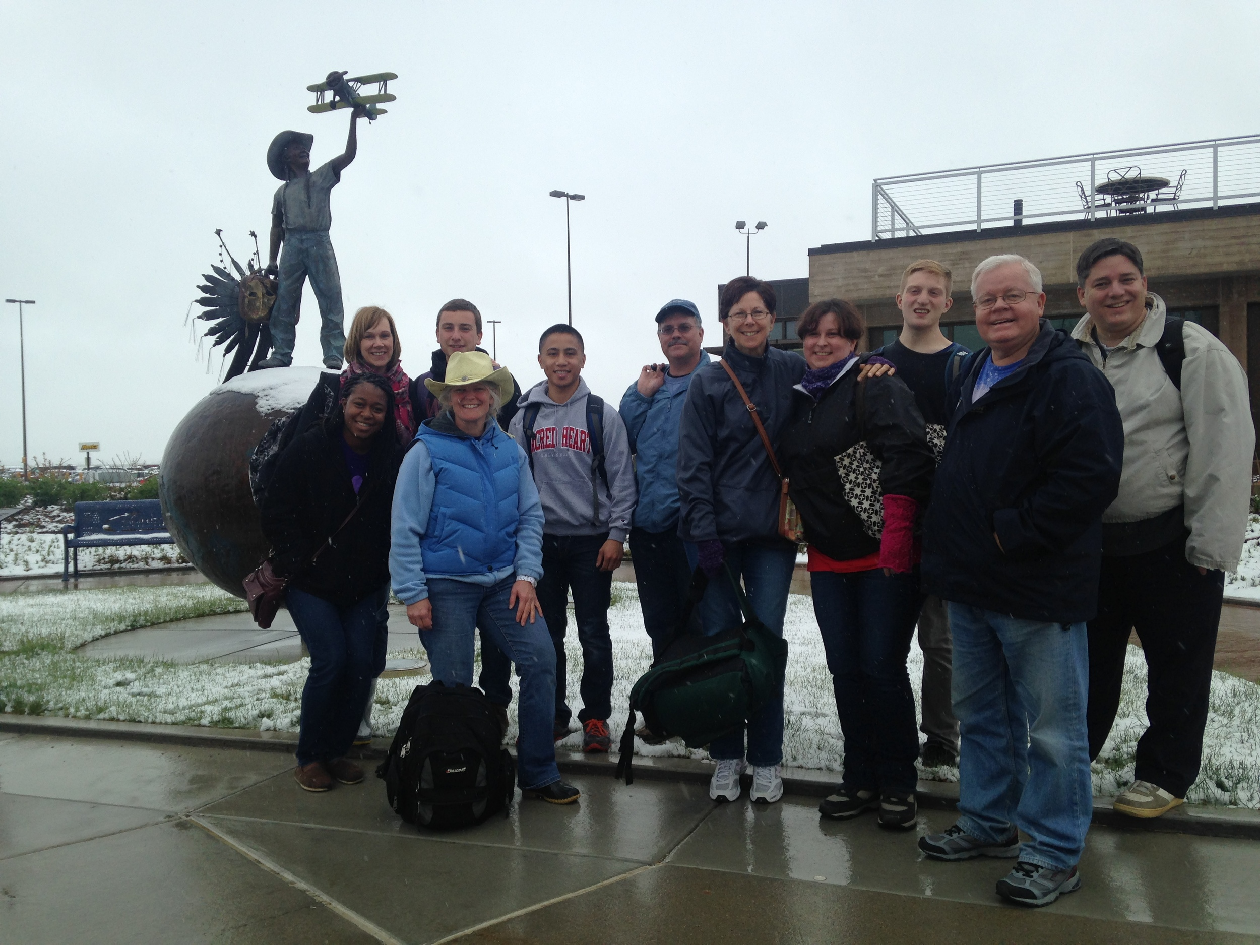 Our friends from Naugatuck and Bethel arrive to a snowy Rapid City. (May 2015)