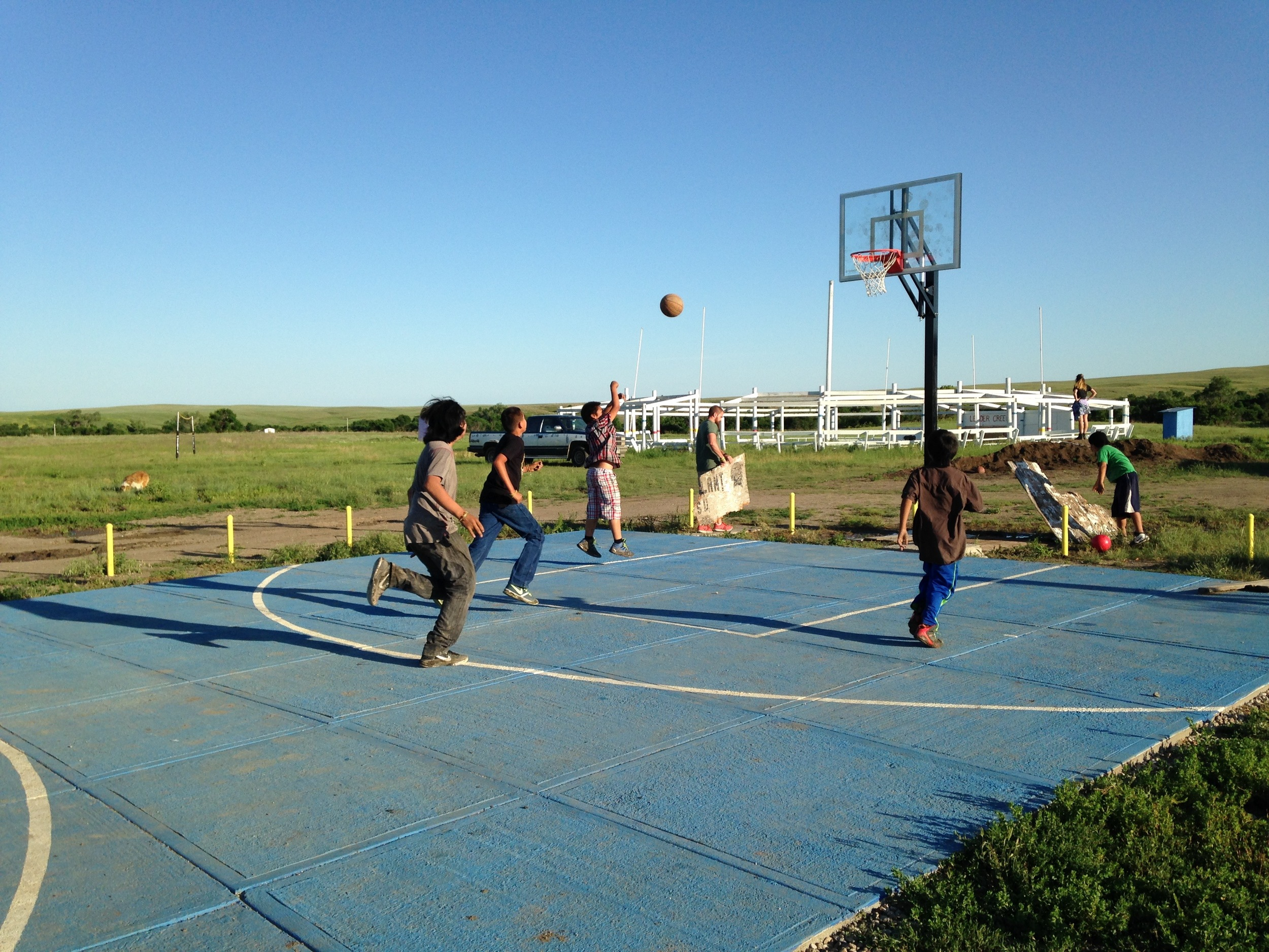 Basketball remains the go-to activity with the kids! (E. Russell, La Plant, June 2015)