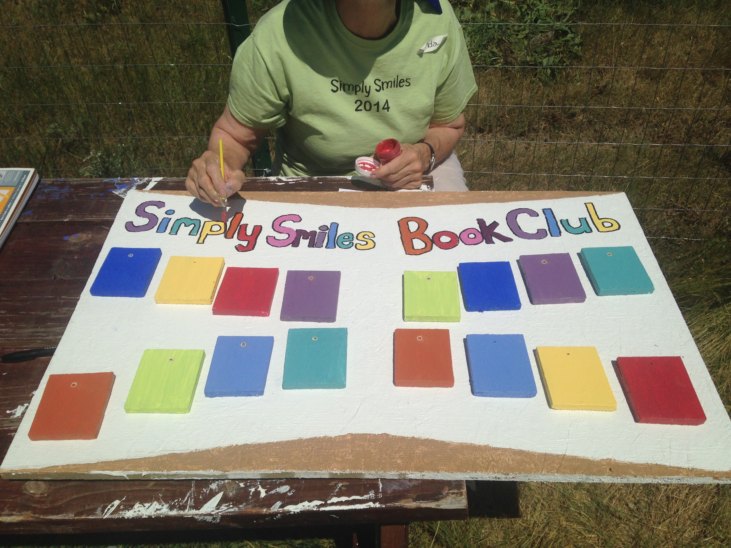 A new sign is created to celebrate Book Club milestones! Each book completed will be marked on the Book Club board! (A.Gross, La Plant, July 2015)