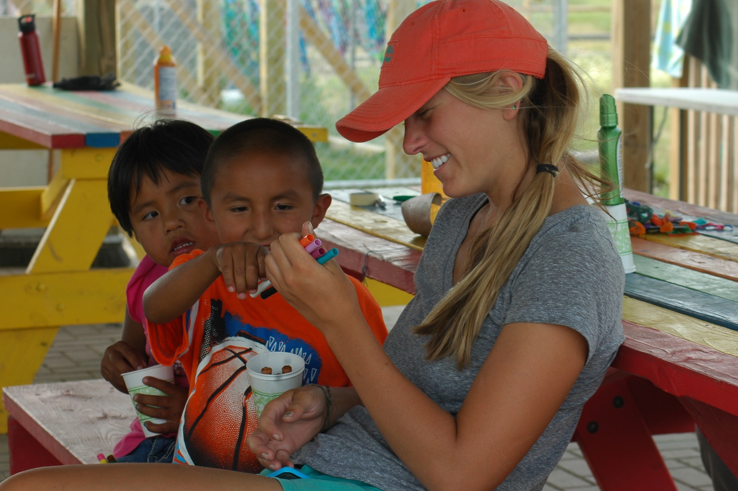 Emma, having fun with the kids at camp on the Reservation. (August 2014)