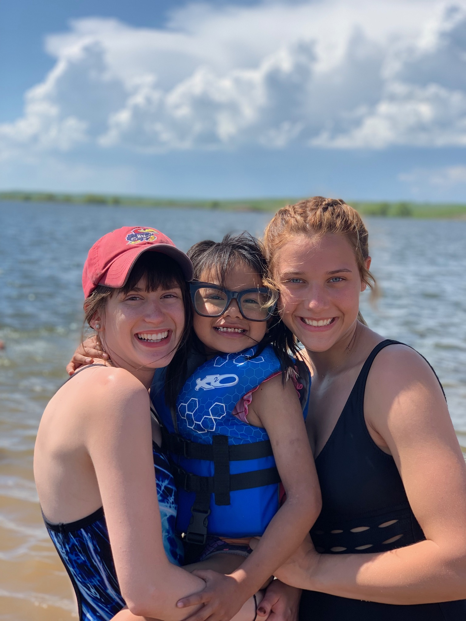 Making new friends during a  swimming trip to the Missouri River!