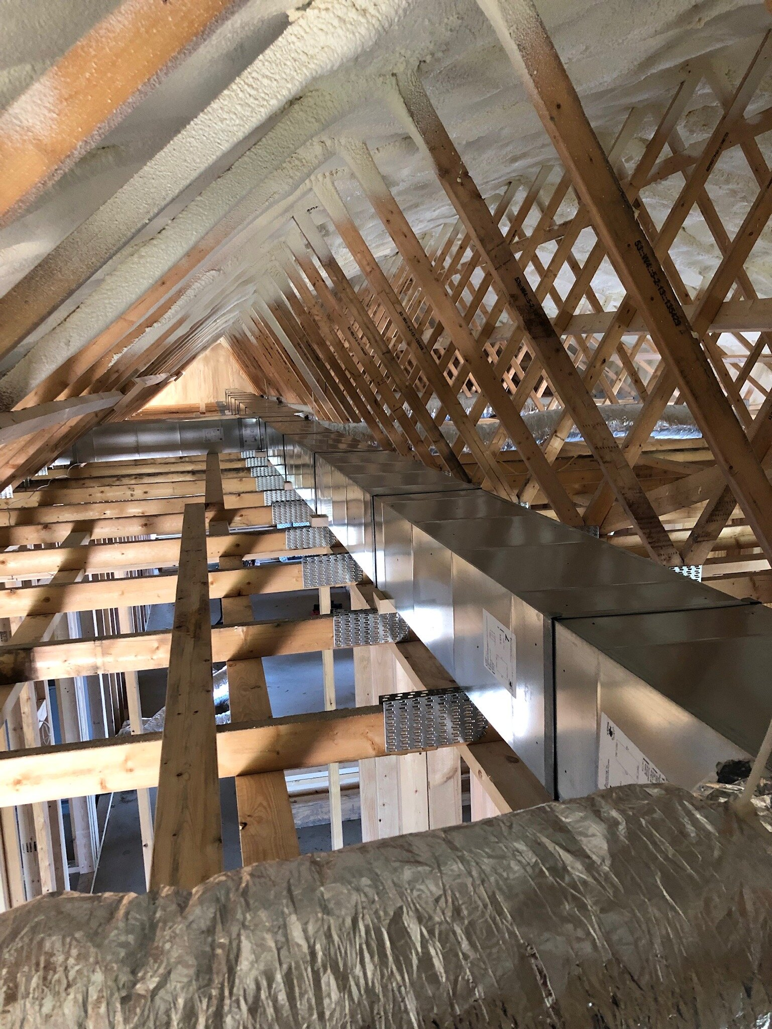 A view of the insulation and rafters.