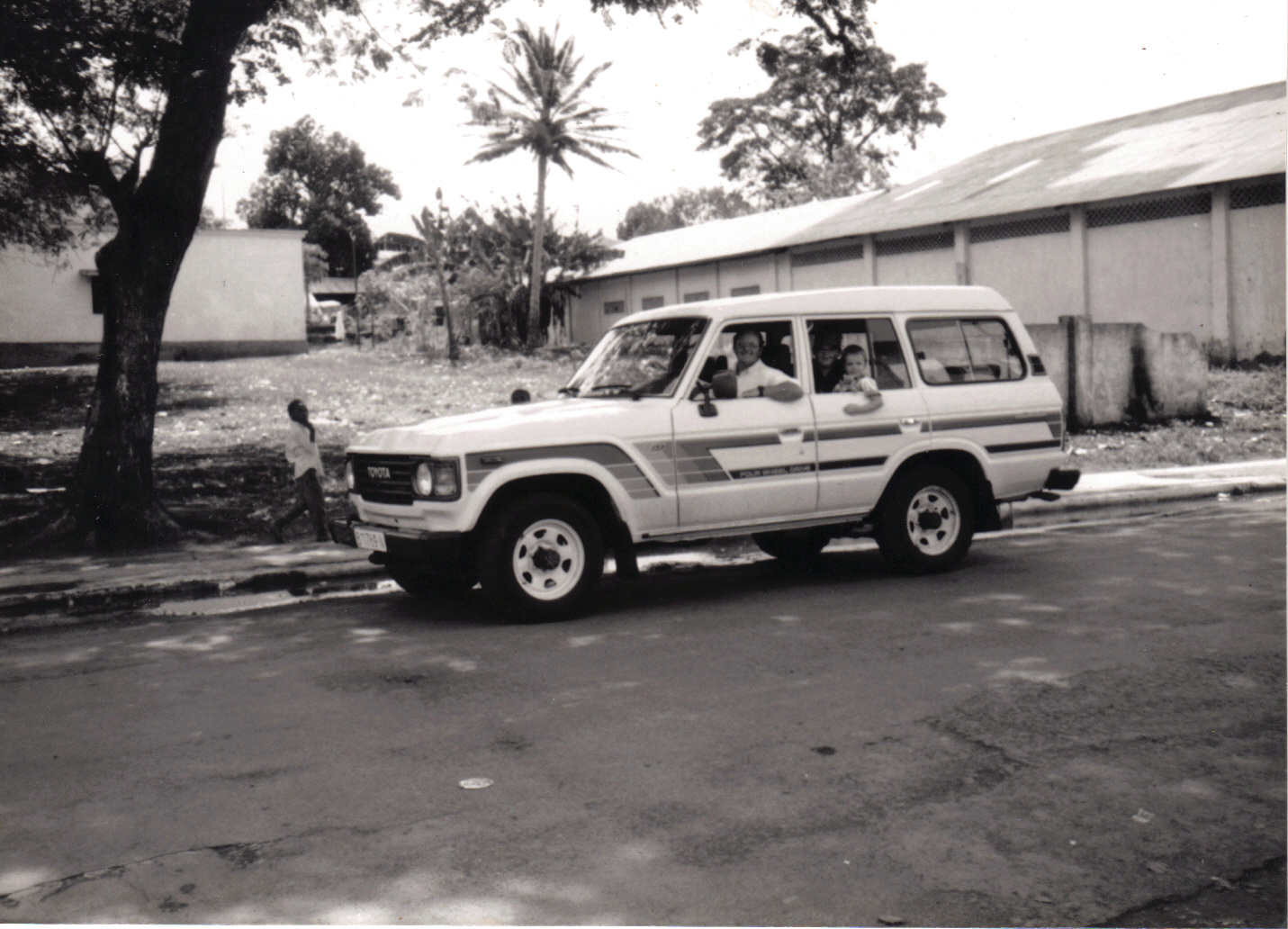 Dad, my older brother Shawn and I in our Speed the Light vehicle, Malabo, Equatorial Guinea