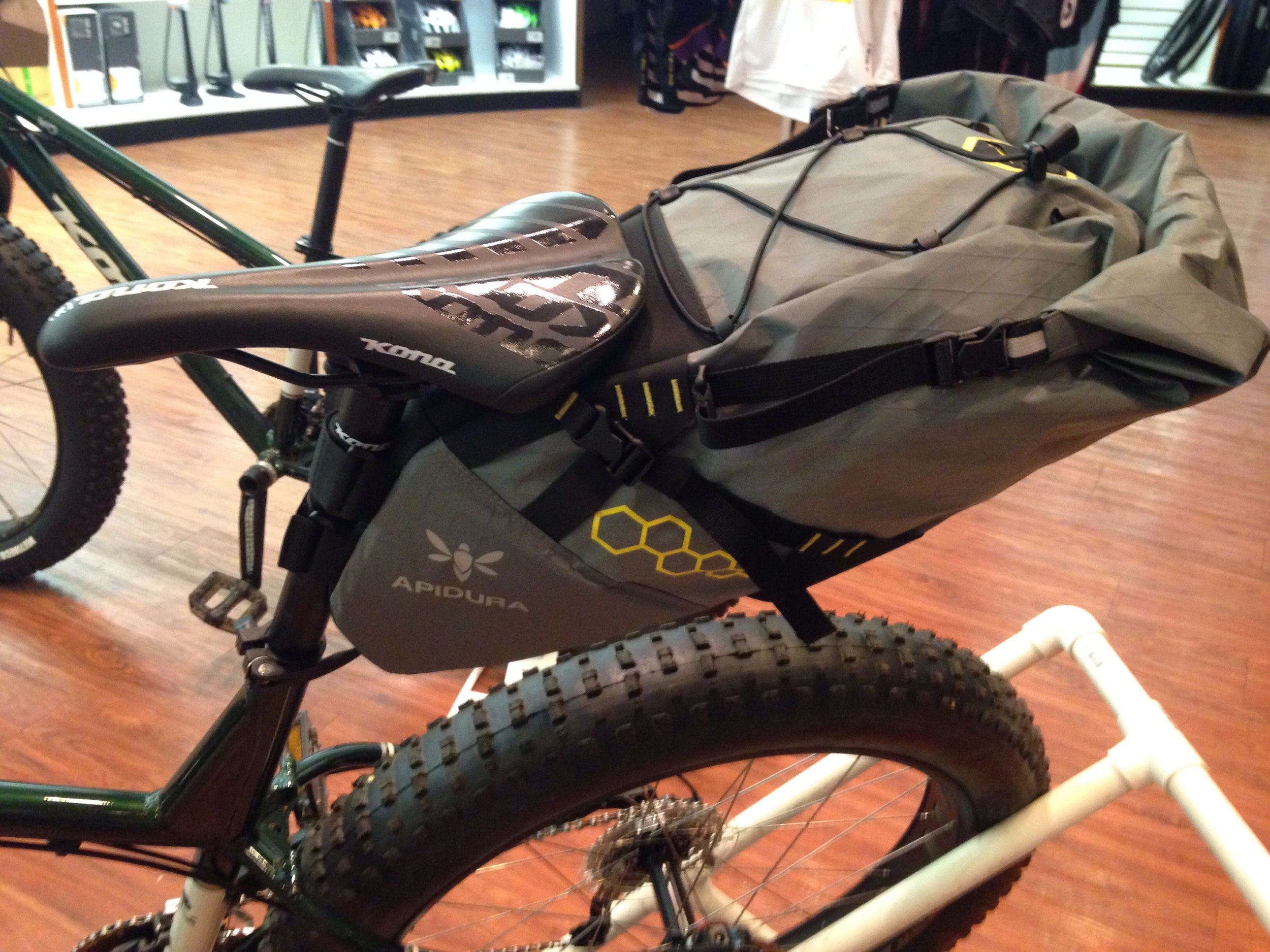 Apidura seatbag. Waterproof and capable of carrying gear or clothing.