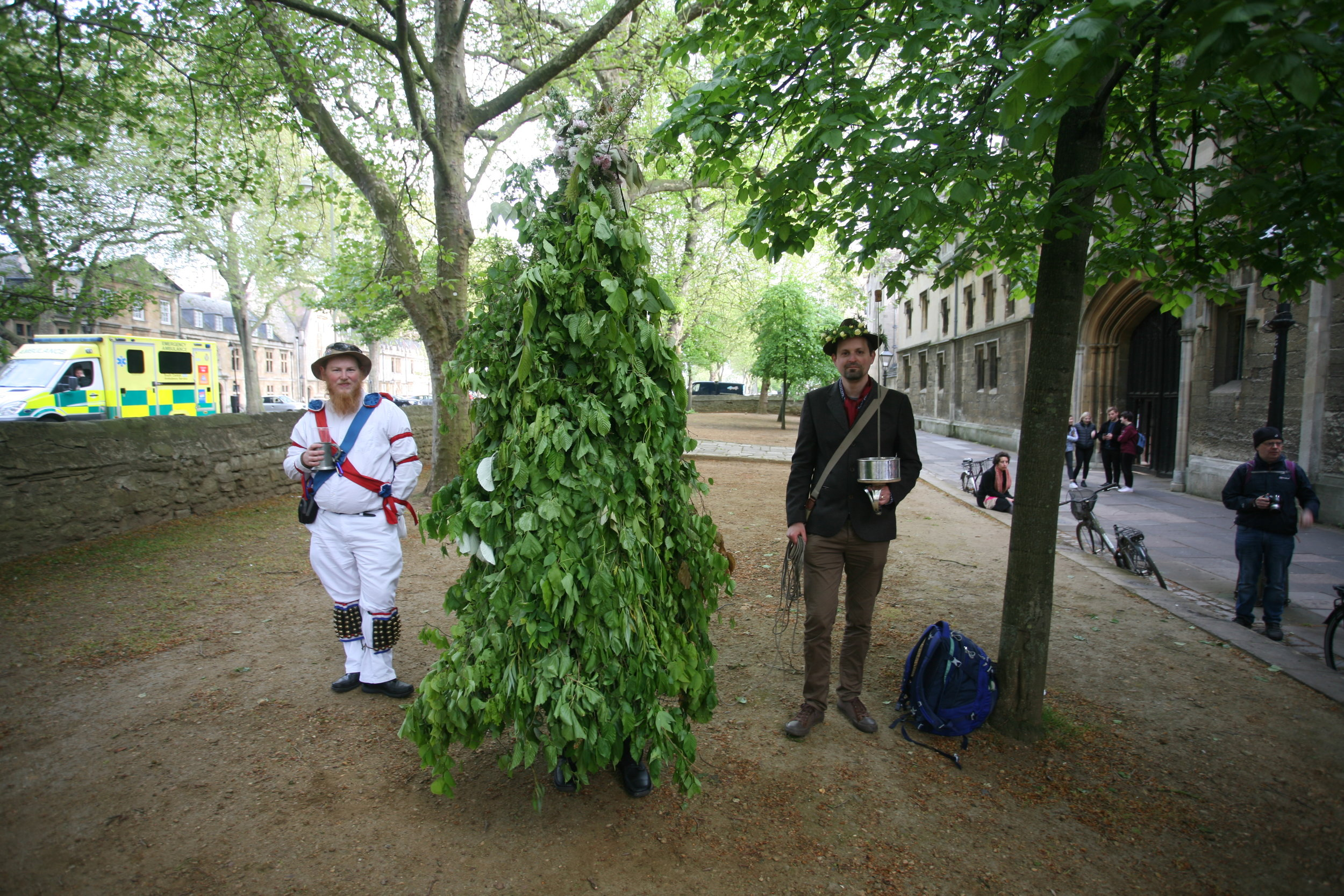 tree and Swordsman arrive at st john's college