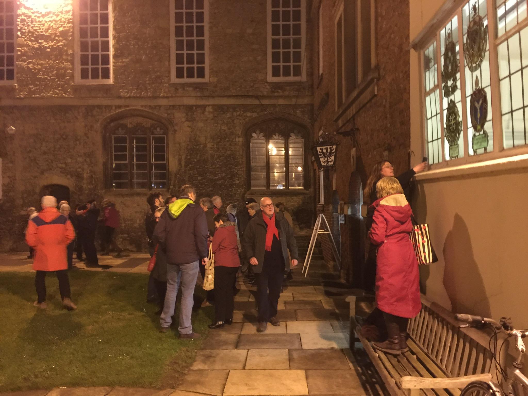 Parishioners of Abingdon, outside Monday's meeting