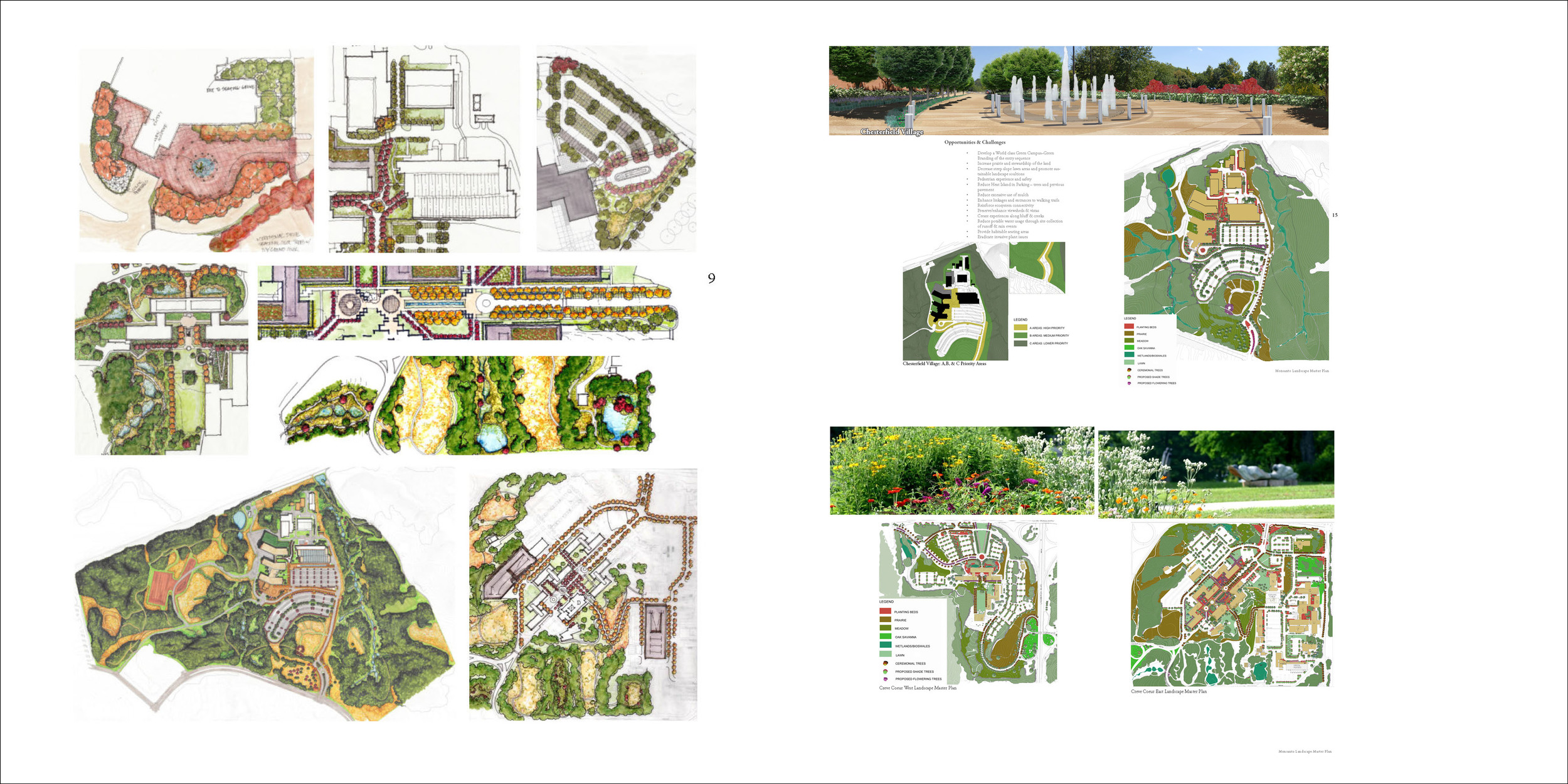 monsanto chesterfield campus map Monsanto Campus Landscape Master Plan H3 Studio monsanto chesterfield campus map