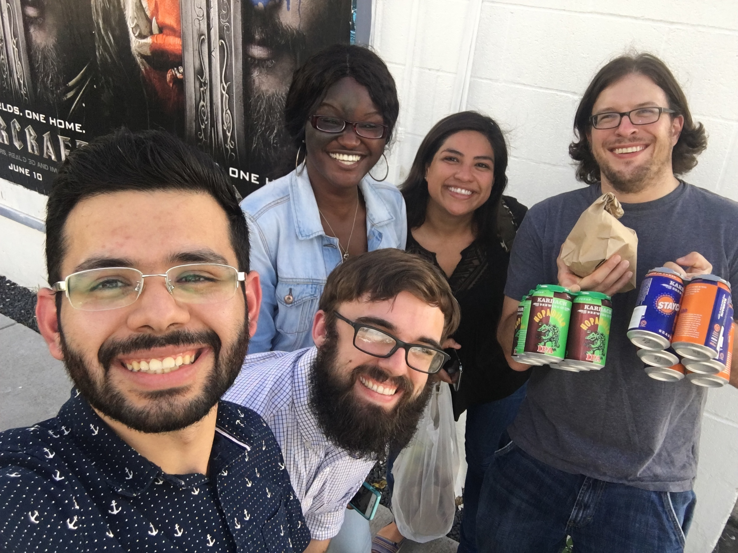 "Taco Friday at ""Many's taco truck"" with the entire lab. (L-R) Manuel, Kesha, Alex, Karen, and Josh."