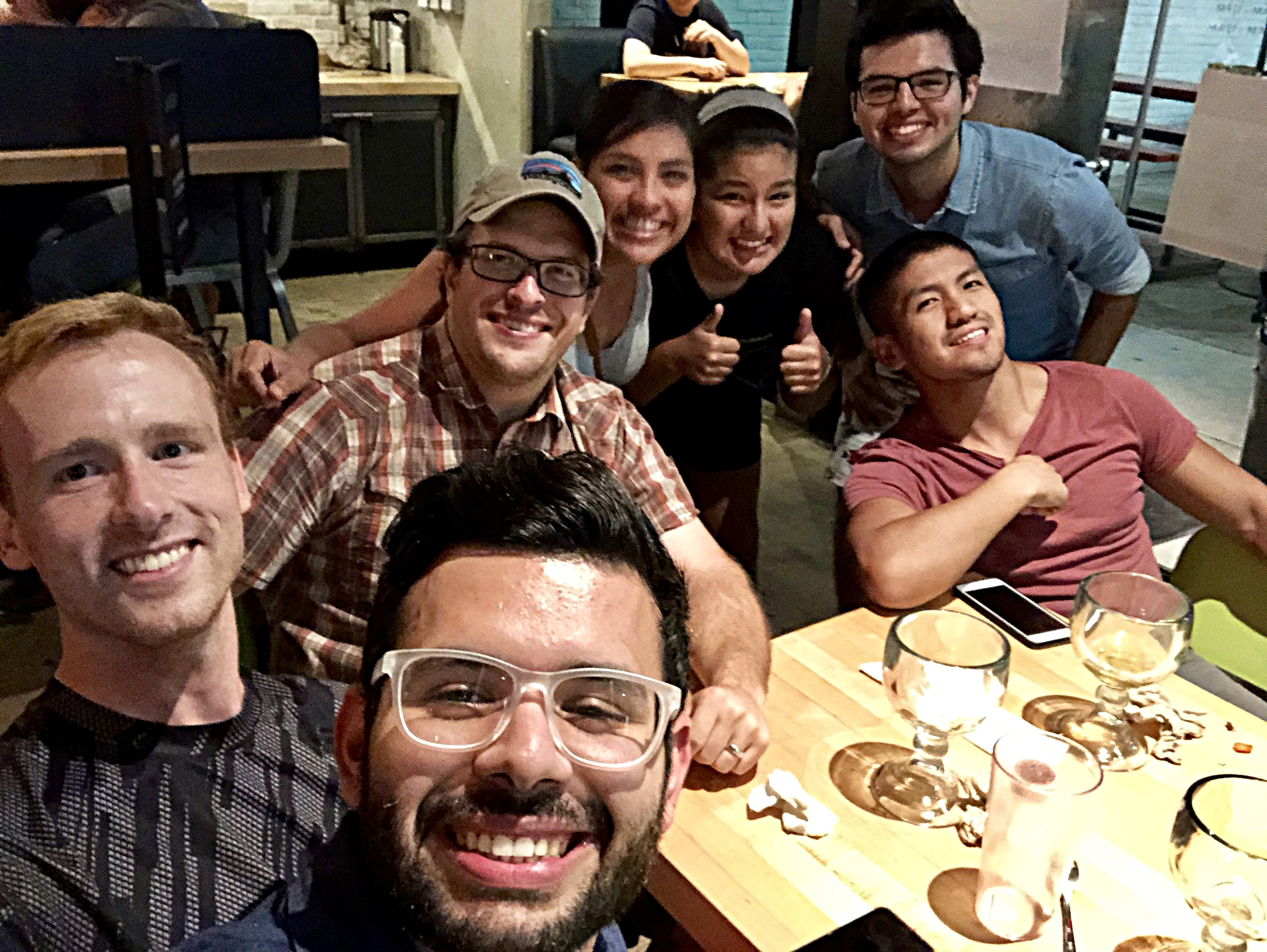 Lab dinner at Hop Doddy to wish Abiud well back at college and to celebrate Carlos joining the lab. Alex Herman was missed! Summer 2018.