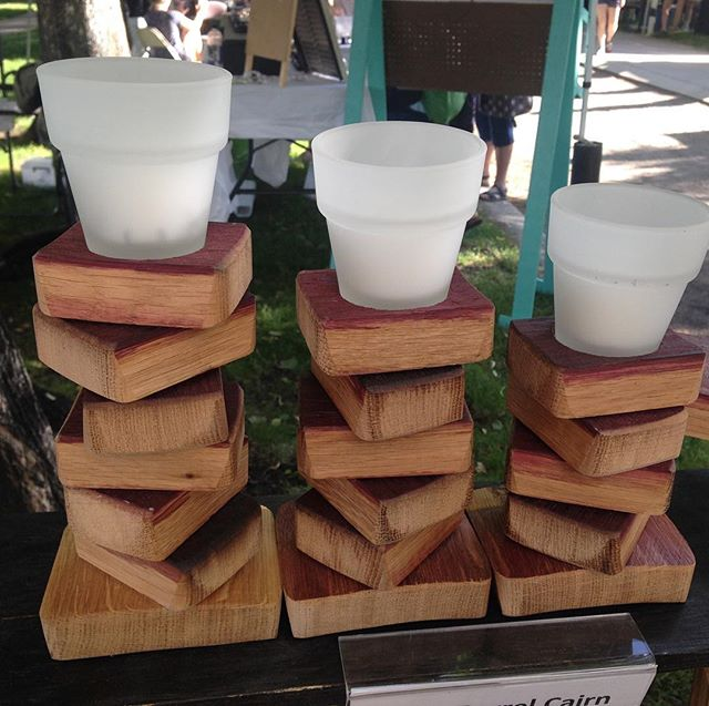 We call this set of three votives, wine barrel cairns.  It's important to us to create original pieces and we love working with the materials we harvest from retired wine & whiskey barrels.  Come to Pioneer Park and eat, drink & shop local!