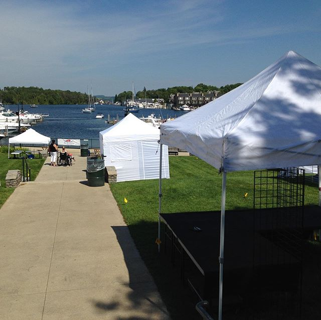 Our view from this weekend's event in Charlevoix, MI.  Stop by and get your Sexy on.  #thesexysusan, #ironrosecollection, #madeinmi, #veteranmade, #handbuilt, #madeinusa, #lazysusans, #upcycled, #reuse