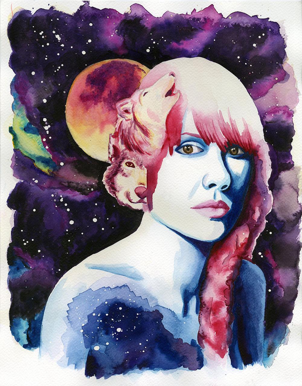 Moon  Watercolor on Watercolor Paper