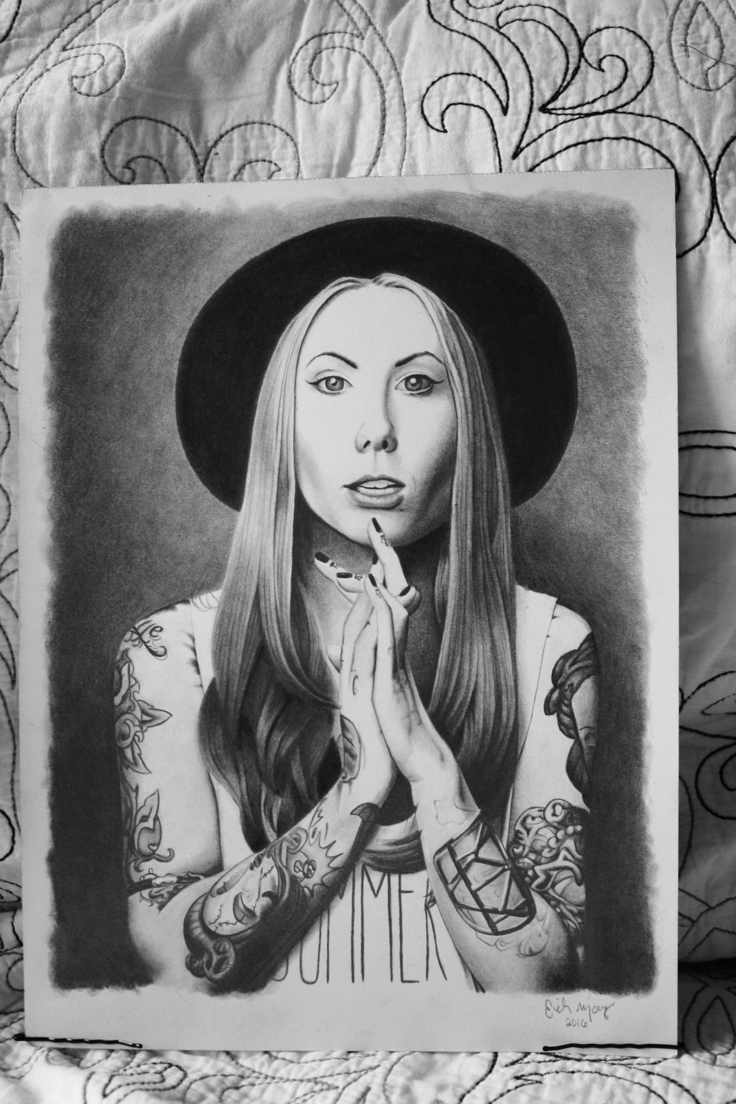 Fan Art - Megan Massacre  Graphite and Charcoal Drawing