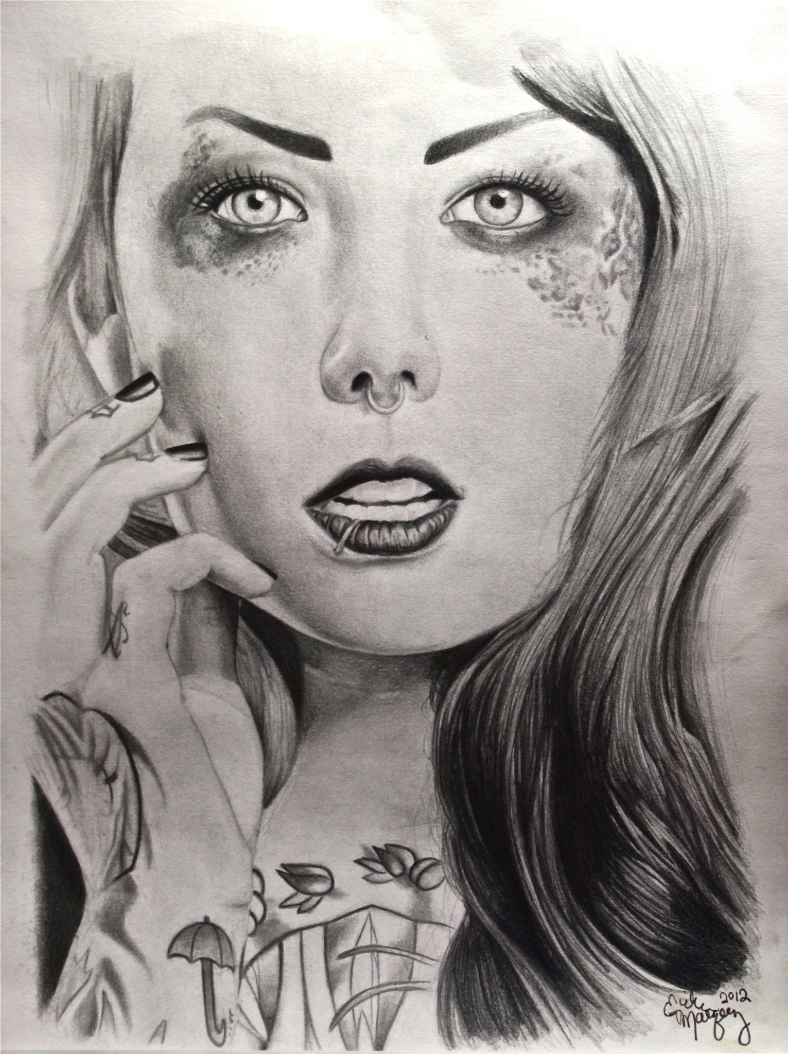 Fan Art of Megan Massacre  Graphite and Charcoal Drawing