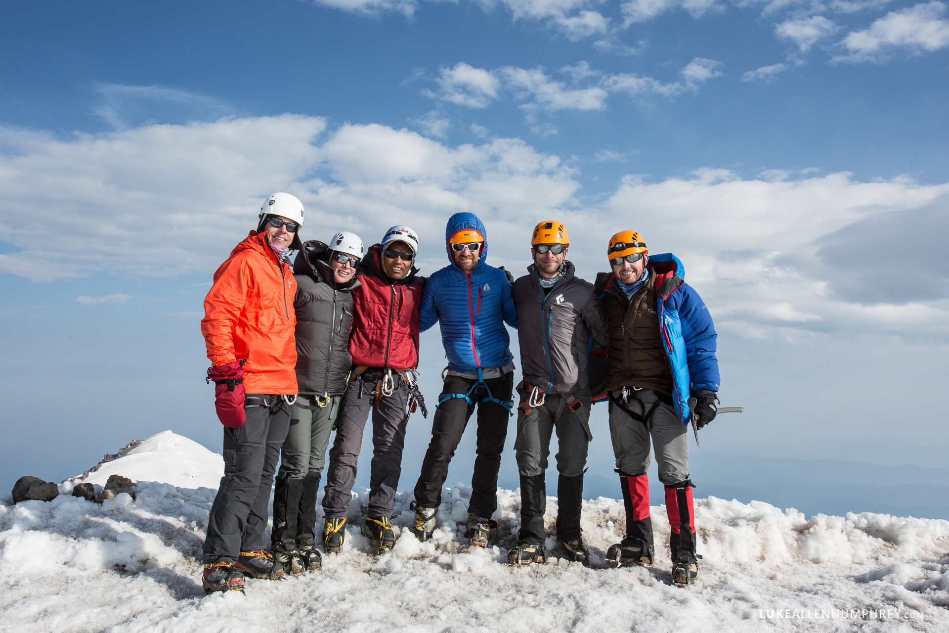 David Morton & Lakpa Rita at the summit with some of the climbers in 2014.    Photo by: Luke Humphrey