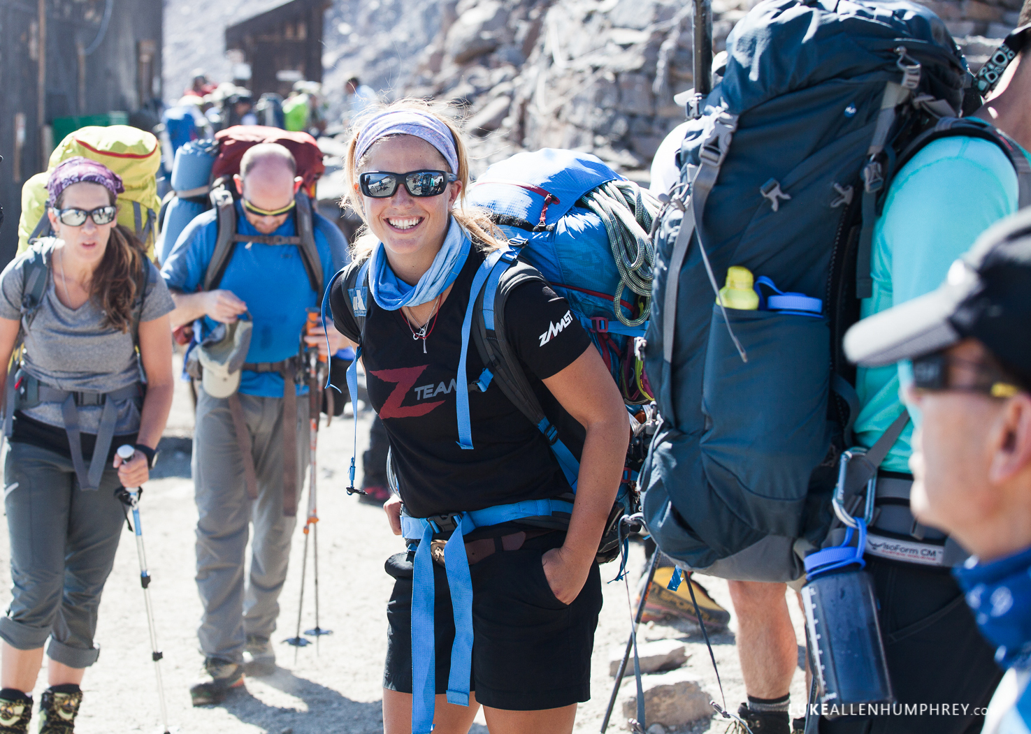 Melissa Arnot is all smiles with her team at Camp Muir.    Photo by: Luke Humphrey
