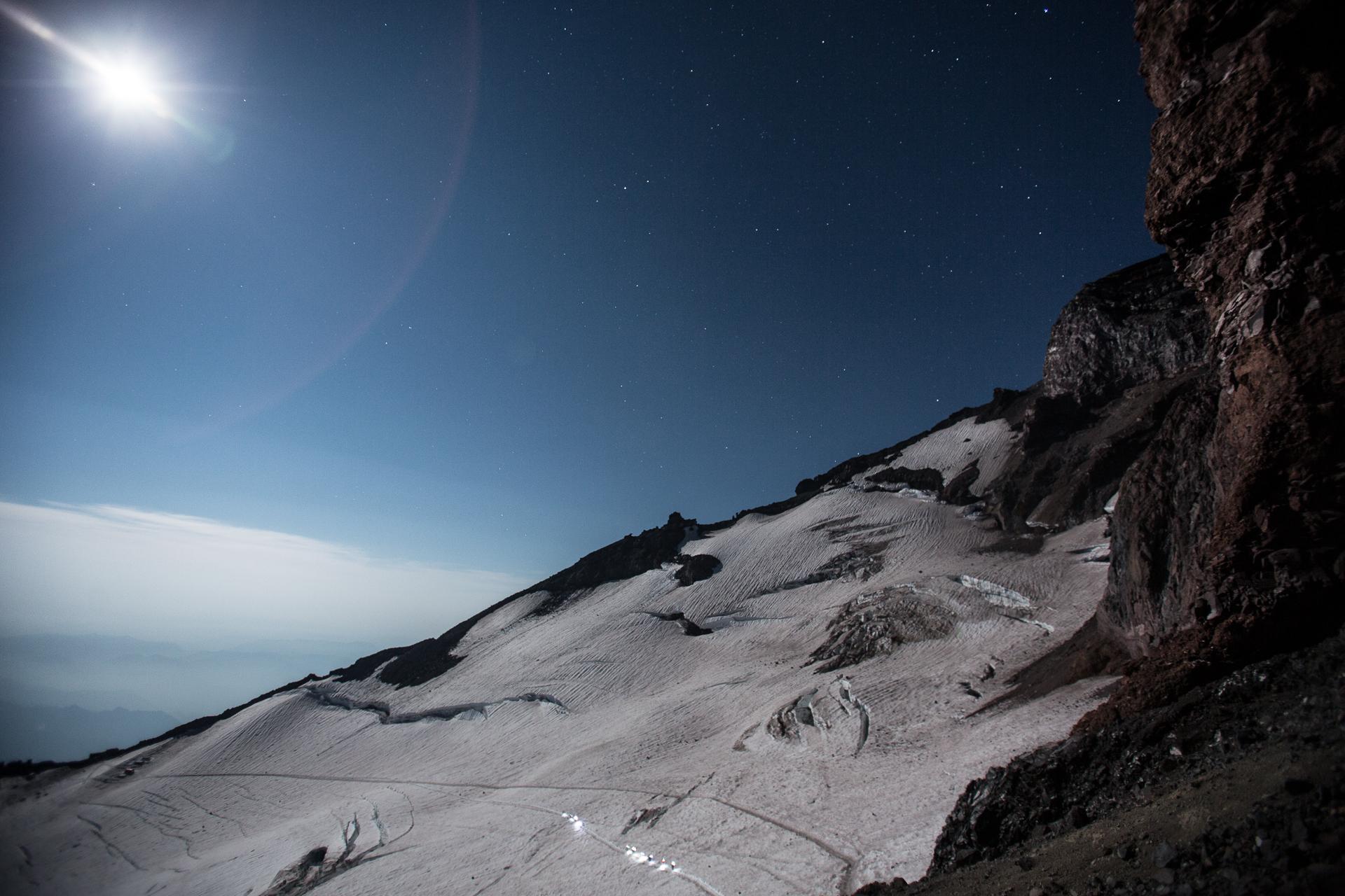 Heading across the Cowlitz Glacier under a beautiful sky.  Photo by: Luke Humphrey