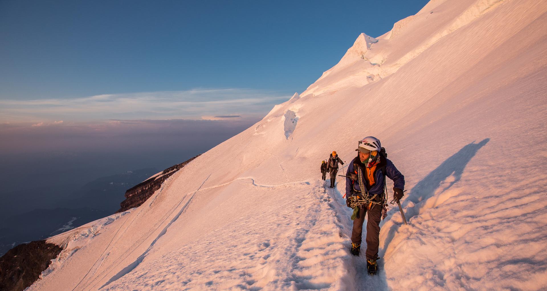 Lakpa Rita leads high on summit day after daybreak.  Photo by: Luke Humphrey