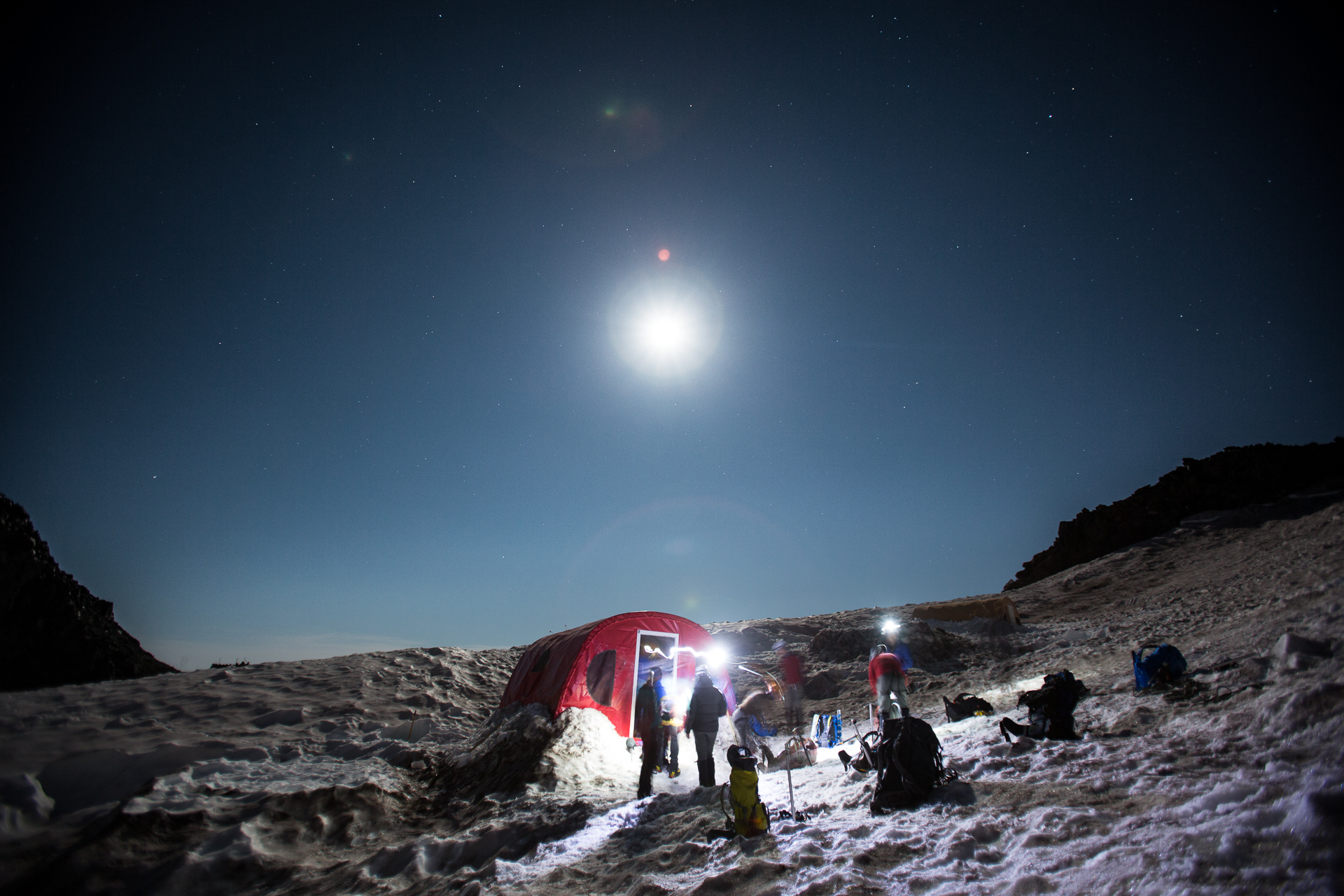 Getting ready for the summit push under a bright moon.  Photo by: Luke Humphrey