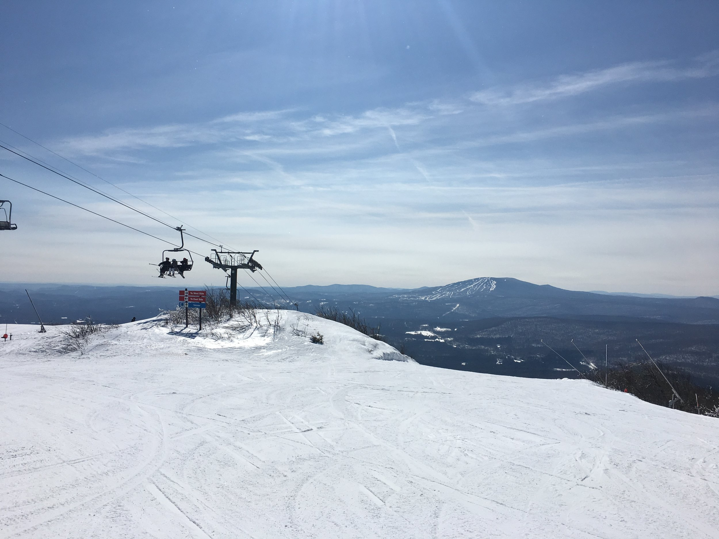 Top of Bromley Ski Resort in March