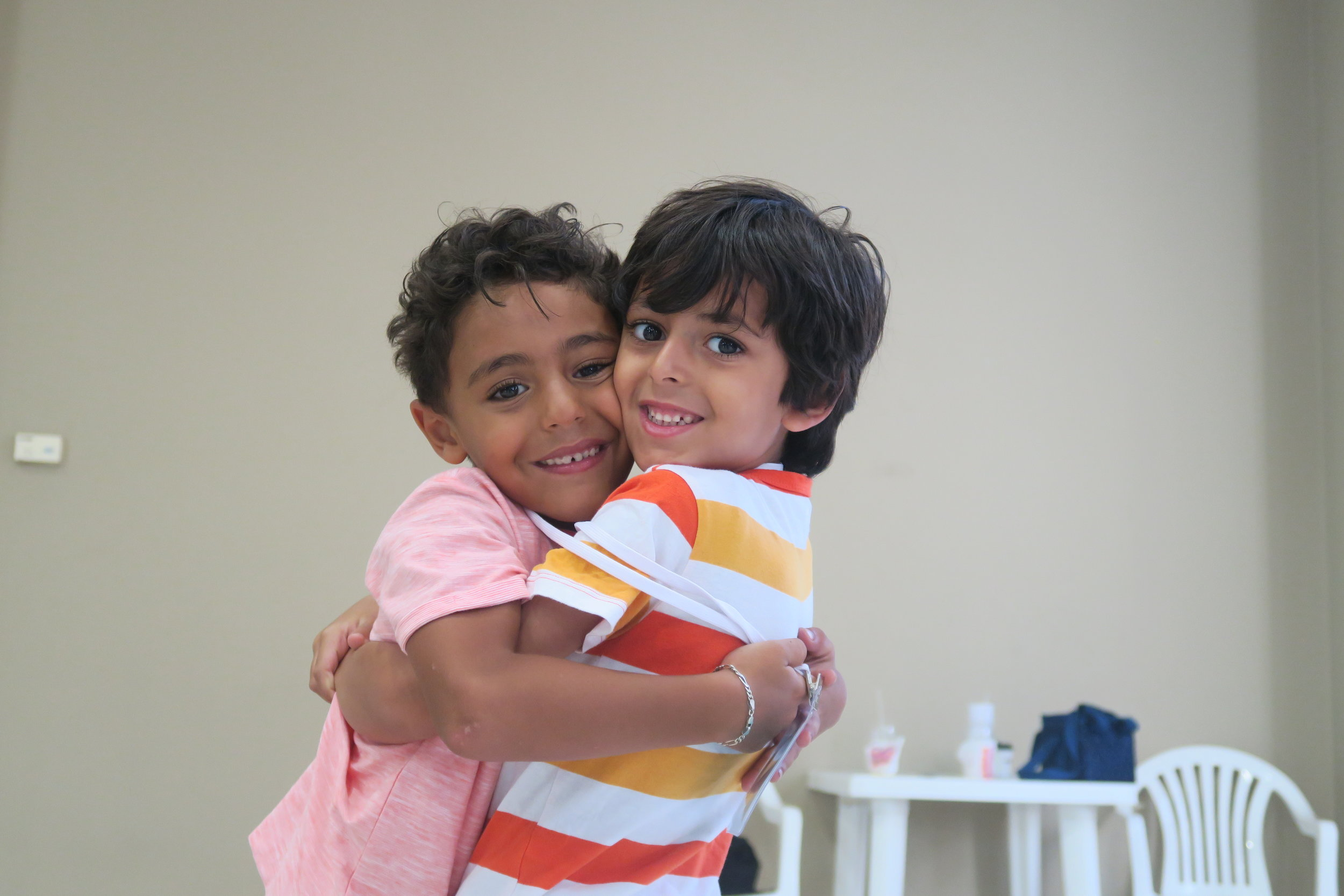 Mohammed and Haidar hugging!